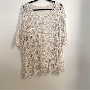 ROZ & ALI cream lace top
